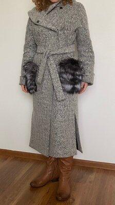 Женское зимнее шерстяное пальто-халат серое - жіноче зимове шерстяне пальто сіре
