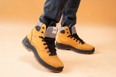 Мужские ботинки кожаные зимние желтый-нубук, зимние мужские ботинки