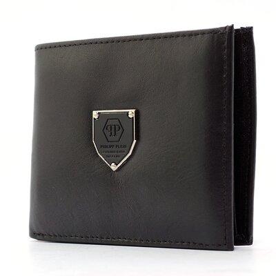 Кошелек мужской кожаный зажим для купюр черный Philipp Plein 01-19