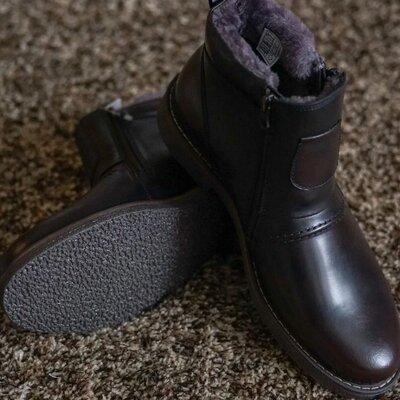 Мужские зимние ботинки Krisbut польские коричневые с мехом