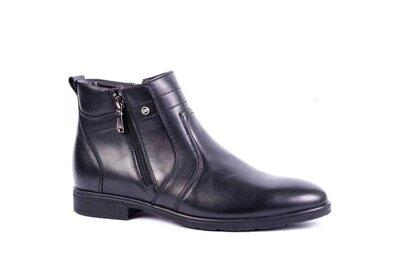 Мужские зимние ботинки на цигейке чёрные кожаные, классика