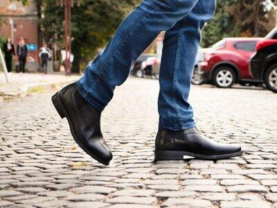 Кожаные мужские сапоги ботинки челси демисезонные на байке осенние весенние статусные