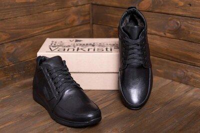 Мужские зимние кожаные ботинки из натуральной кожи VanKristi VK 940 бот