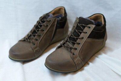 Мужские зимние ботинки minardi польские кожаные коричневые на шнурках