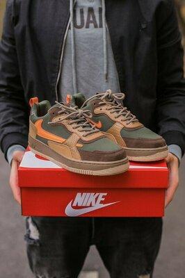 Кроссовки Nike Air Force Haki/Orange