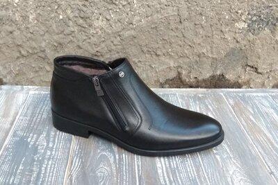 Мужские кожаные зимние ботинки Икос на змейке, с мехом