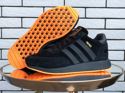 Adidas Iniki кроссовки зимние мужские черные с оранжевым 9937