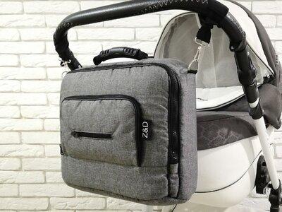 Сумка на коляску универсальная Z&D Maxi Лен Серый