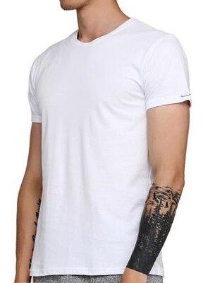 Мужская однотонная белая хлопковая футболка корнет. cornette 202 new