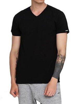 Мужская однотонная черная хлопковая футболка корнет. cornette 201 new