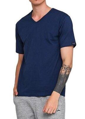 Мужская однотонная синяя хлопковая футболка корнет. cornette 201 new