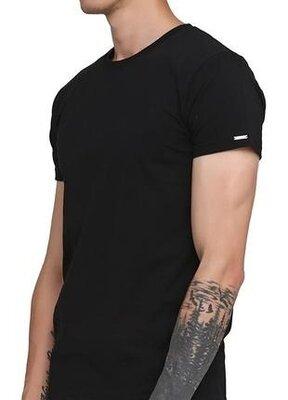 Мужская однотонная черная хлопковая футболка корнет. cornette 202 new