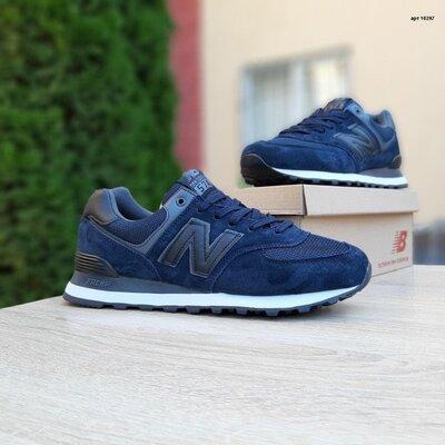 Мужские кроссовки 10297 New Balance 574 Синий чёрная N замша/сетка