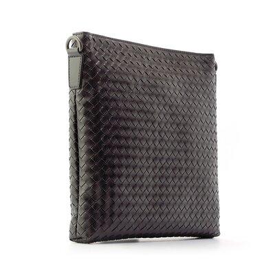 Сумка через плечо, планшетка кожаная плетенка черная 58961-2
