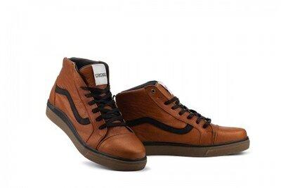 Мужские кеды кожаные зимние коричневые-черные CrosSAV 324