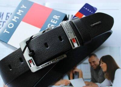 Кожаный мужской ремень для джинсов Tommy Hilfiger black