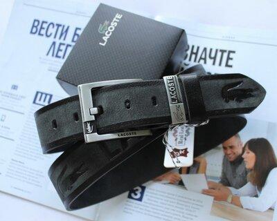 Мужской кожаный ремень для джинсов Lacoste серый