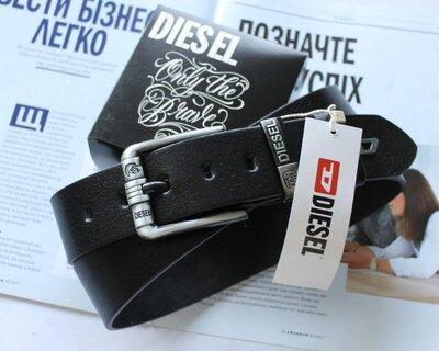 Мужской кожаный ремень для джинсов Diesel черный