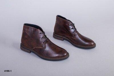 Код 4186-1 Мужские ботинки Сезон деми Размеры 40-45 Цвет коричневый Материал натуральная кожа