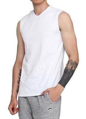 Классическая хлопковая белая мужская базовая безрукавка. майка cornette 207
