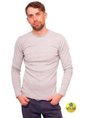 Мужская серая хлопковая футболка с длинным рукавом наталюкс