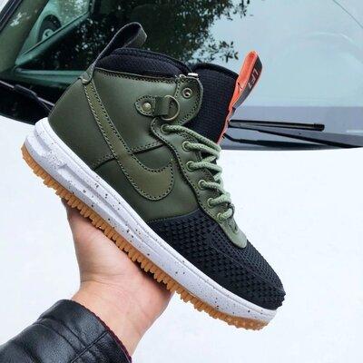 Высокие мужские осенние кроссовки Nike Lunar Force 1 Duckboot,темно зеленые с черным