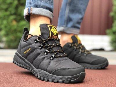 Мужские осенние термо кроссовки Columbia,черные с оранжевым
