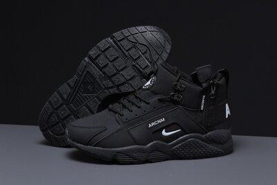 Зимние мужские кроссовки Nike Air Huarache, черные, мех