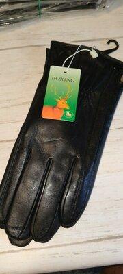 Кожаные мужские перчатки на шерсти сетка .