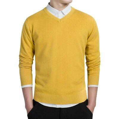 Стильный жёлтый мужской джемпер,пуловер Enzo Belardi 48-50