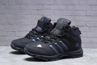 Зимние мужские Adidas Climaproof мех , черные, нубук