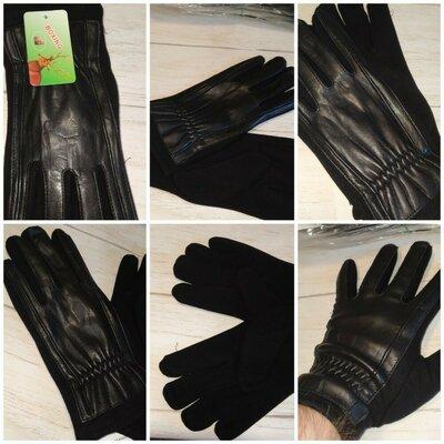 Перчатки мужские комбинированные кожа кашемир .