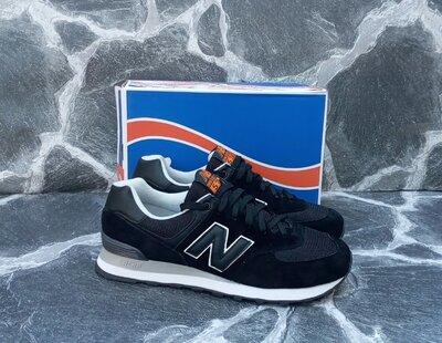 Мужские кроссовки New Balance 574 замшевые,осенние.черные,синие