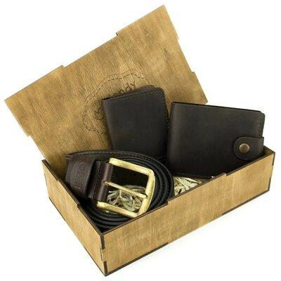 Мужской подарочный набор в коробке Handycover 42 коричн ремень, портмоне, обложка на ID паспорт
