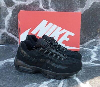 Мужские кроссовки Nike Air Max 95 замша и сетка,осенние,черные