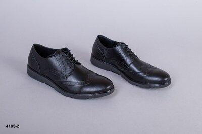 Код 4185-2 Мужские туфли Сезон деми Размеры 40-45 Цвет черный Материал натуральная кожа Внут