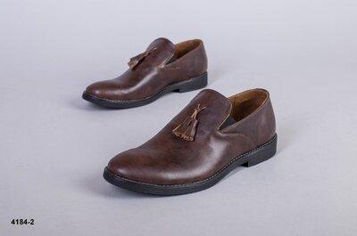 Код 4184-2 Мужские туфли Сезон деми Размеры 40-45 Цвет коричневый Материал натуральная кожа В