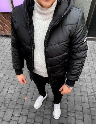 Варианты. Европейское качество. Мужская Зимняя Куртка на силиконе черная vit2