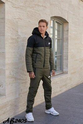 Мужской зимний костюм куртка и штаны на синтепоне и овчине реплика Nike 46 48 50 52 54