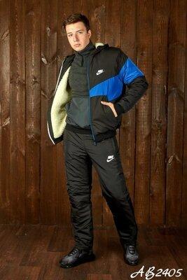 Мужской споривный костюм реплика Найк 46 48 50 52 54р на синтепоне и овчине куртка и штаны