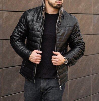 Мужская зимняя куртка из эко кожи на меху