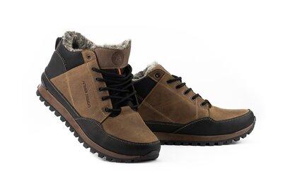 Мужские кроссовки кожаные зимние черные-коричневые Anser 100
