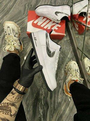 Найк Эйр Форс 1 белые с серебристым Nike Air Force 1 Low White Silver