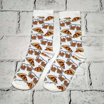 Носки цветные с принтом Пицца, унисекс, 36-44 р