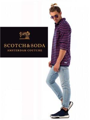 Мужская рубашка байка мягкая теплая клетка фланель Scotch & Soda Indigo M