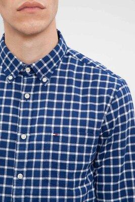 Мужская рубашка клетка синяя байка Tommy Hilfiger M