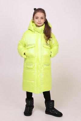 Зимняя удлиненная курточка для девочки 128-152 рост