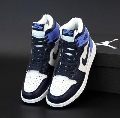 Зимние кроссовки ботинки Nike Jordan 1 Retro. С Мехом. Унисекс. Blue. Найк Джордан