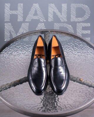 Кожаные лоферы ручной работы 42р мужские классические туфли мокасины