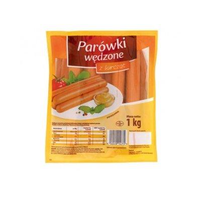 Сосиски Parowki Wedzone куриные копченые 1 кг Польша